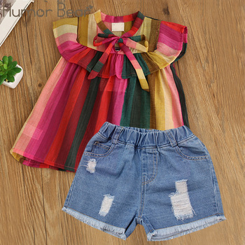 Humor Bear Baby Girls Clothes 2019 Summer New Children Clothse Baby Girls multicolor Coat+Shorts Suit Toddler Girls Clothing 1