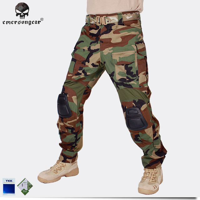 f905b5c2d4 Emersongear G3 Combat Pants With Knee Pads Military Army Airsoft Tactical  Gear Paintball Hunting Trousers Woodland EM7044 nylon
