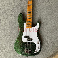 In stock, green light Bass Guitar, 4 string bass, special guitar for the show, birthday gift for friends. Free shipping.