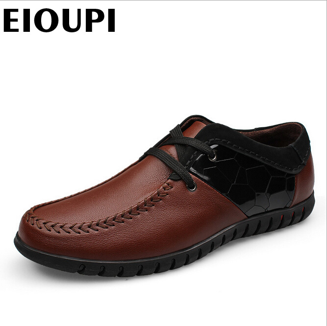 EIOUPI top quality new design genuine real leather mens fashion business casual shoe breathable men shoes lh006 015 top fashion papel de parede para sala wall style elephant with collapsing design 3d wallpaper mural can be customized paper