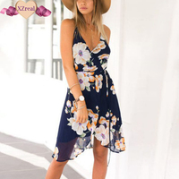 Summer Women S Backless Flower Print Lace Chiffon Split Casual Beach Party Dress Kimono Sexy V