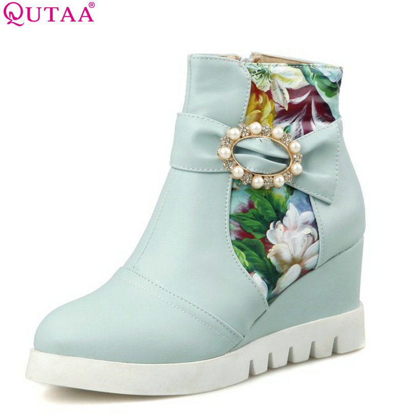 QUTAA Blue Pink Lady Fashion Shoe Round Toe Women Ankle Boot Platform Wedge High Heel Beading Woman Motorcycle Boot Size 34-43 nayiduyun women genuine leather wedge high heel pumps platform creepers round toe slip on casual shoes boots wedge sneakers
