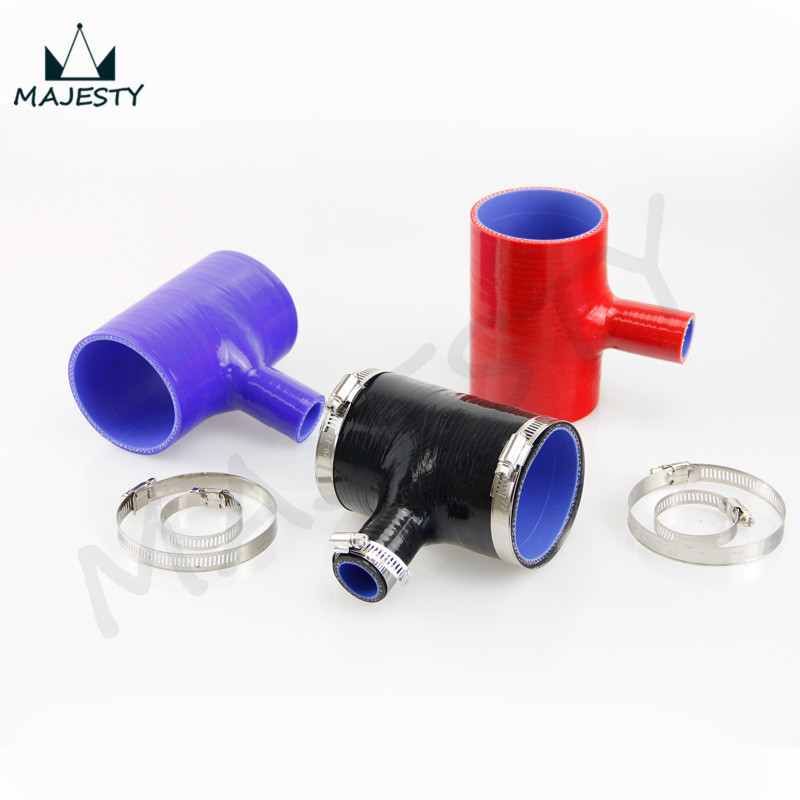2.5 To 2.5 T Piece Silicone Hose 63mm T Shape Tube for 25mm ID BOV +Clamps BLACK