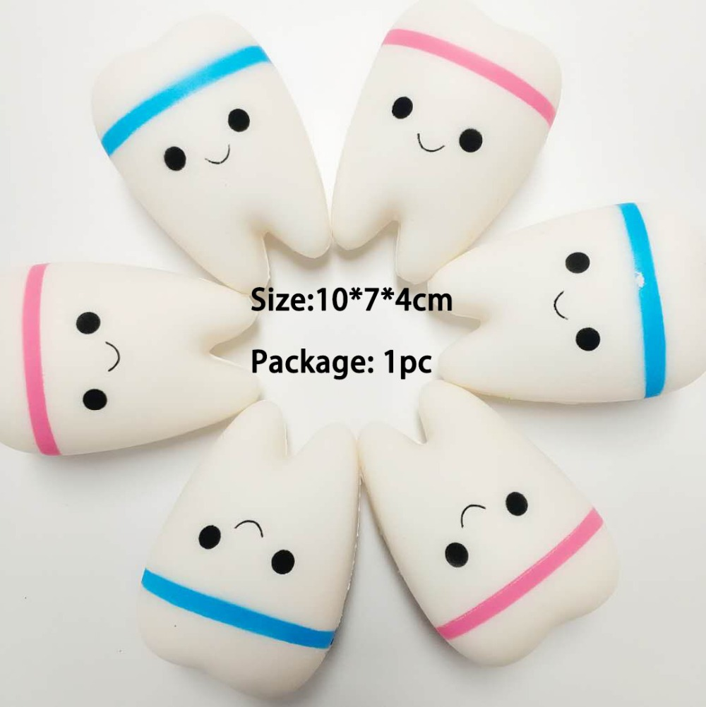 New Squishy Cute teeth Antistress Squeeze Slow Rising Toys Soft Stress Relief PU Material Toys Funny Gift ...