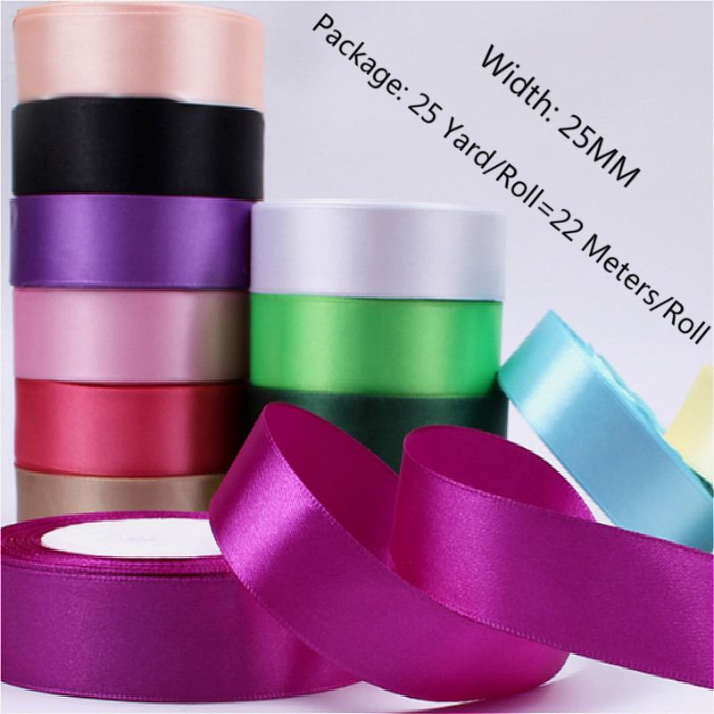 25Yards 2.5cm Handmade DIY Material Silk Satin Ribbon for Wedding Party Gift Wrap Accessories Sewing Christmas Holiday Decor|Ribbons|   - AliExpress