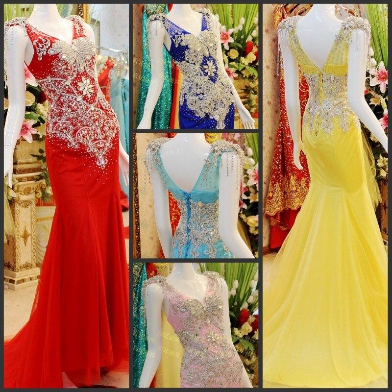 Livraison gratuite 2013 nouveau mode vestidos de luxe strass cristal mariées formales longues robes de soirée fête robes de bal