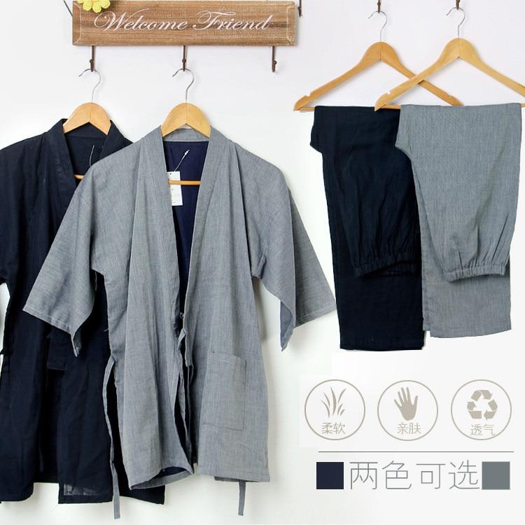 Pajamas Men Cotton Kimono Pajamas Double Gauze Black Sleepwear Men's Sleep Lounge Pajama Sets Mens Pyjamas Kimono