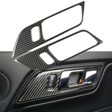 For Ford Mustang 2015+ 2pcs Carbon Fiber Interior Door Handle Frame Trim Sticker