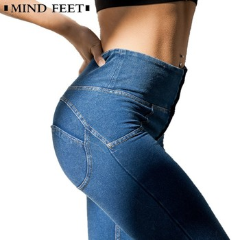 MIND FEET High Waist Slim Jeans Push Up Hip Denim Pants Women Elastic Fitness Leggings Female Spring Fitness Long Casual Pants denim