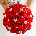 Beaded Wedding Bouquet Rhinestone Crystal Bridal Bouquet Red Satin Silk Rose Flowers Bridesmaid Pearl Blumenstrauss ModaBelle