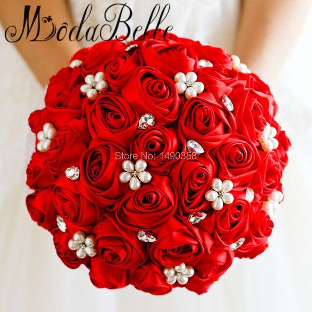 Beaded Wedding Bouquet Rhinestone Crystal Bridal Bouquet Red Satin Silk Rose Flowers Bridesmaid Pearl Blumenstrauss ModaBelle