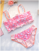 Miss Lovely Warehouse No Ring Bra and panty set Comfortable Sleep Underwear for Girls dessous sujetador