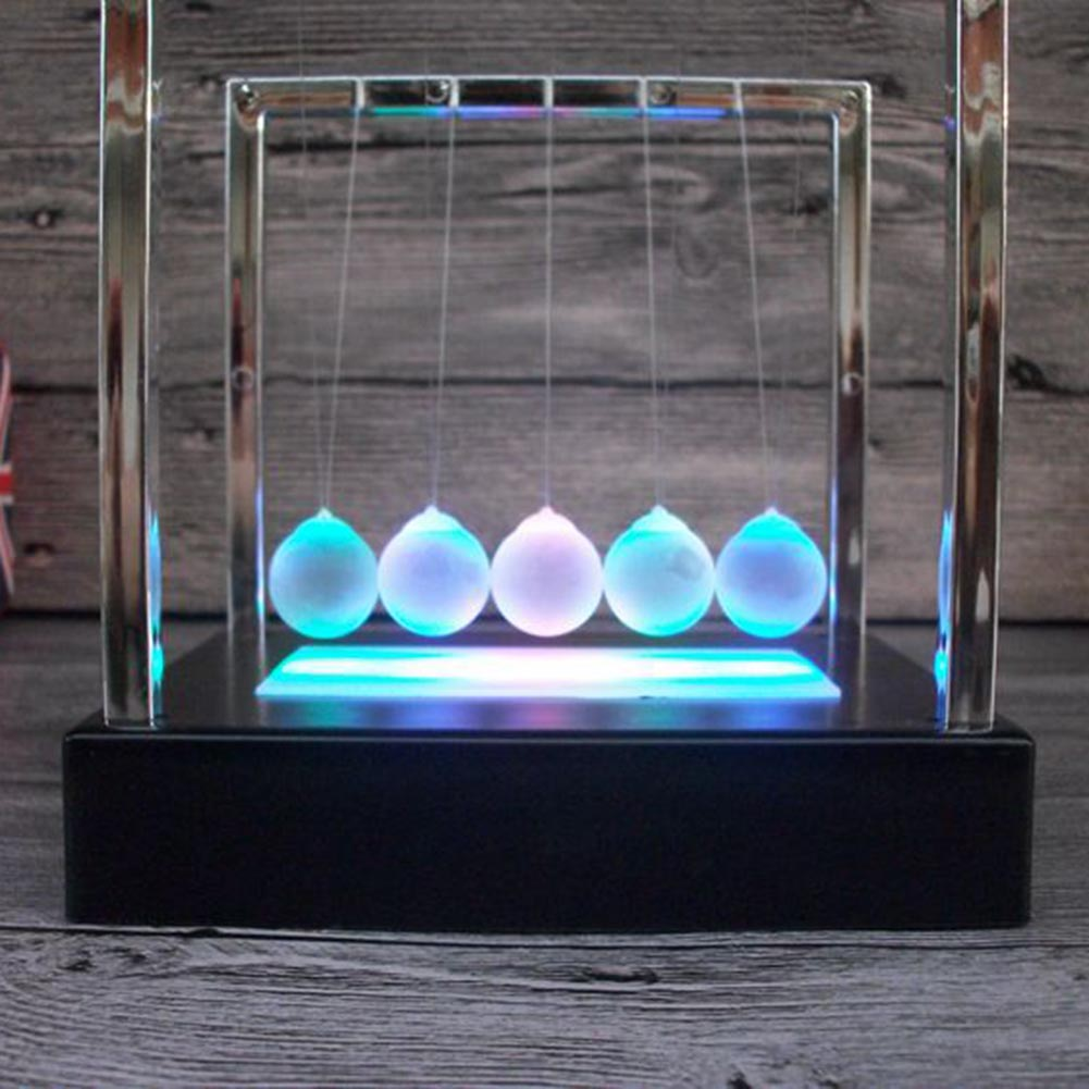 Light up Illuminated Cradle Balance Ball Home Decor Office Desk Toy Educational Science Toy Xmas Gift Stress Relief Toy