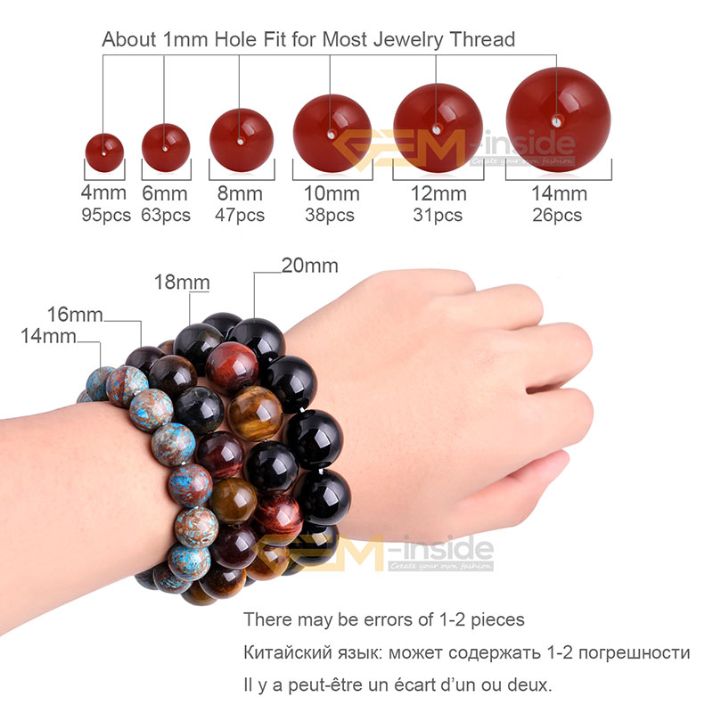 Natural Stone Black Agates Round Beads For Jewelry Making Strand 15