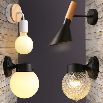 modern minimalist  wood iron  wall lamp personality lamp bedside bathroom mirror light energy corridor