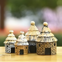 4pcs Zakka Mini Small House Country Style Thatched Cottages Figures Toys DIY Micro Landscape Decoration Toy Model Christmas Gift