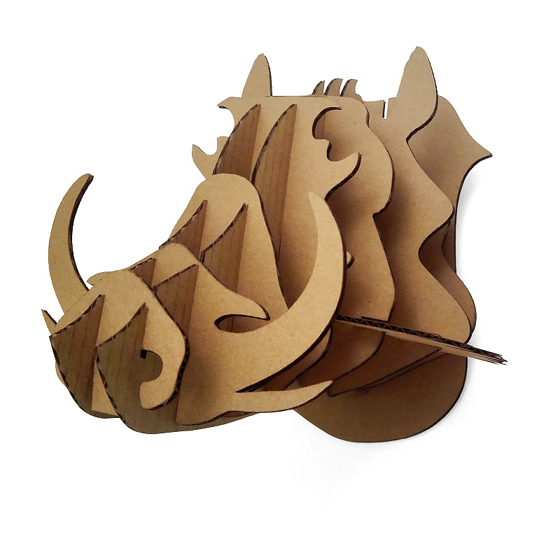 3d puzzle cardboard animal head wild hogs wall mount diy for Animal head wall decoration