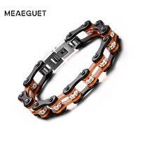 Meaeguet pulido a mano para hombre mujer brazaletes de las pulseras de 10mm de ancho de color naranja negro color de AAA + CZ piedra biker cadena de la mano