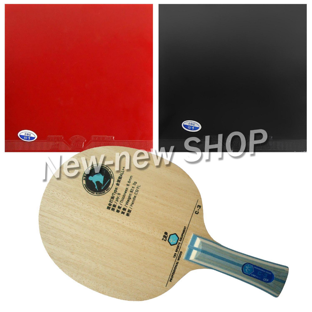 Pro Combo RITC 729 C-3 C 3 C3 Wooden Table Tennis Blade With 2x Super FX Rubbers For Racket Paddle Bat Shakehand Long Handle FL