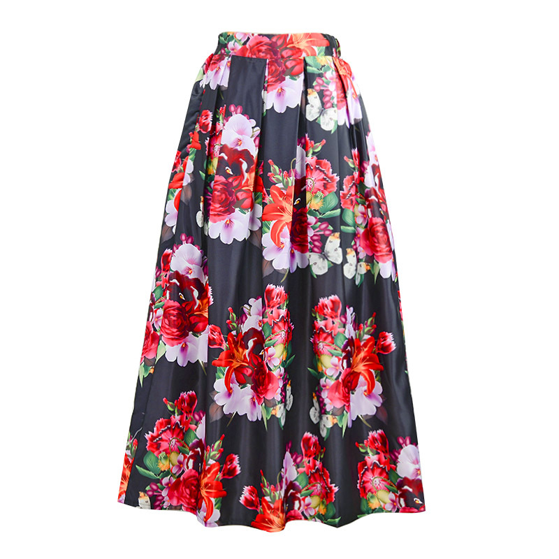 Aliexpress.com : Buy Flower Print Maxi Long Skirts Fasion Floral ...