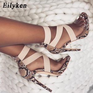 Image 2 - Eilyken New 2021 High Quqlity Women Sandals Open Toe Stiletto High Heels Summer Ladies Party Stretch Fabric Sandal Shoes