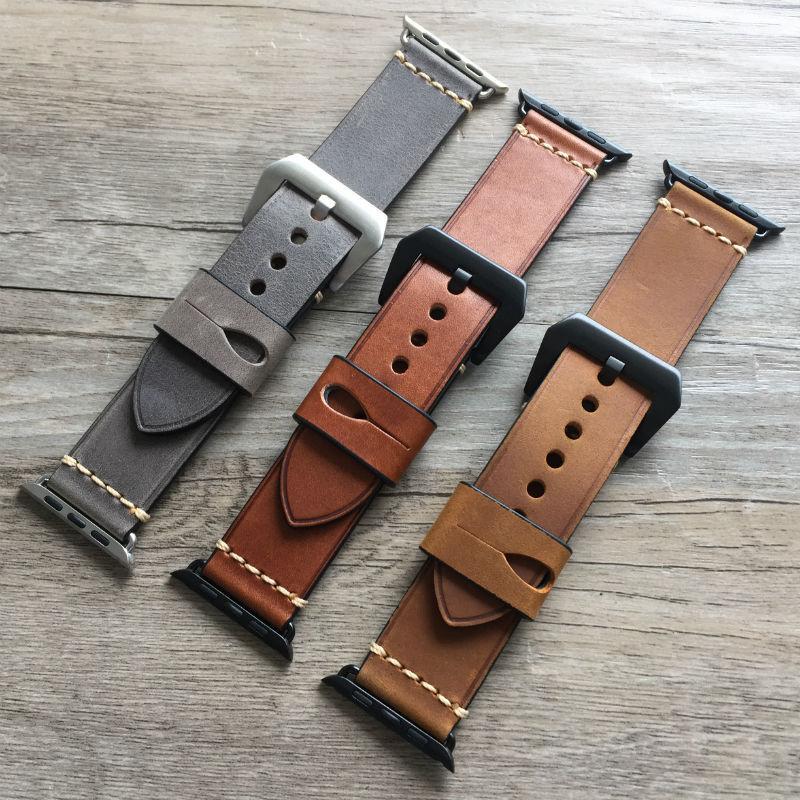 Prix pour Urvoi bande pour apple watch série 1 2 sangle pour iwatch ceinture pour Panerai style haute qualité à la main Rétro En Cuir bande 38mm 42mm