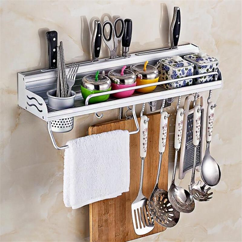 Kitchen Utensil Rack Aluminum Pantry Cookware Spice Dinnerware Kitchenware Shelf Storage Cutlery Holder Hook