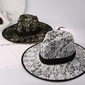 Las mujeres Atan sombrero Inglaterra Amplia Sombra del Dosel Playa Sombrero del casquillo de la muchacha Algas marinas de Jazz Sombrero de paja del verano estilo de la moda en blanco y negro