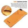 Пьер Карден Для iPhone 6 Case Ретро Натуральная Кожа Задняя Крышка Case Для iphone 6/6 s 4.7 6/6 S Plus 5.5 С Карт памяти случаях