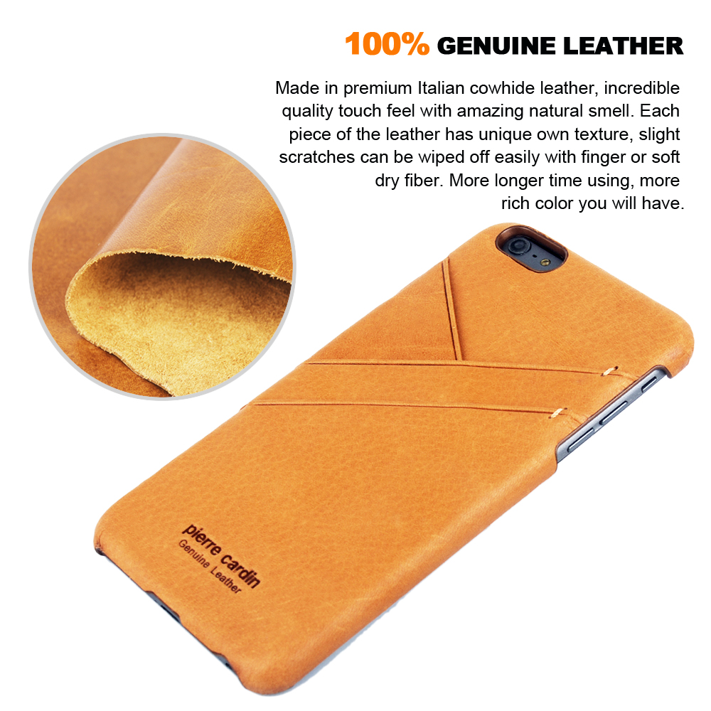 Pierre Cardin For iPhone 6 Case Retro Genuine Leather Back Cover Case For iPhone 6 6S
