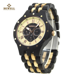 BEWELL Wood Watch with Luminous Three Pointer Business Fashion Casual Luxury Quartz Wristwatch for Men Watch Birthday Gifts 116C