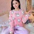 2016 de inverno mulheres pijama de flanela animais conjuntos de pijama feminino pijamas urso/menina/coral do velo pijamas mujer