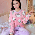 2016 winter pajama women flannel animal pajama sets female sleepwear bear/ girl/ coral fleece pijamas mujer