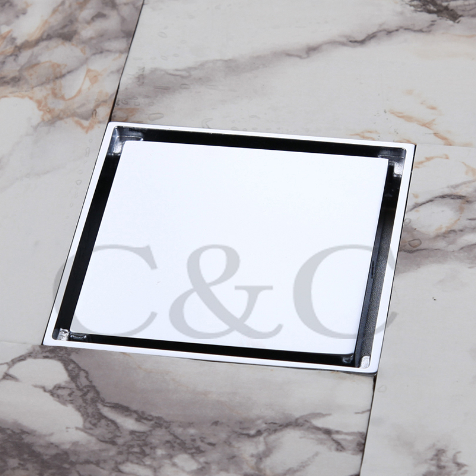 ФОТО 4 Inch Bathroom Floor Drain Sink Grate Waste Silver Color Copper Chrome Square 9102