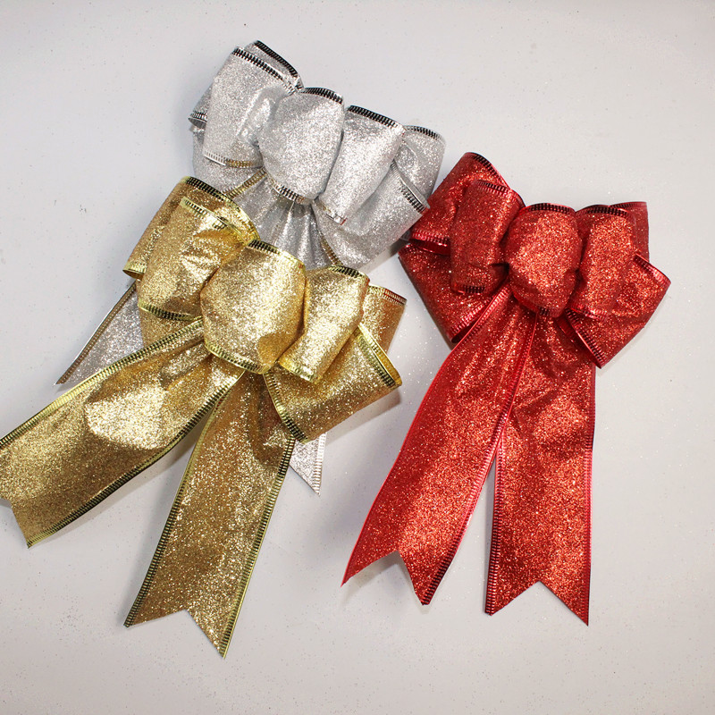 New Christmas Bow Red Gold Silver Christmas Ribbon Bow Decorazione - Per vacanze e feste