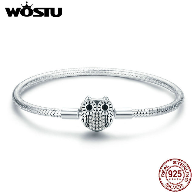 WOSTU 100% Real 925 Sterling Silver Dazzling Owl Charm Bracelet & Bangle For Women Fit Original Brand Beads Jewelry Gift CQB067