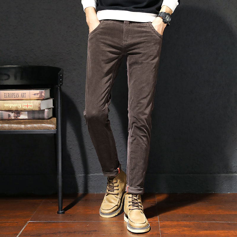 2019 men's spring and autumn stretch corduroy casual pants slim fit black coffee color full length pencil pants for men