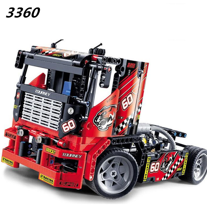 Decool 608pcs 3360 Race Truck Car 2 In 1 Transformable Model Building Block Sets DIY Toys Technic 42041 Toys For Children Gifts decool 3117 city creator 3 in 1 vacation getaways model building blocks enlighten diy figure toys for children compatible legoe