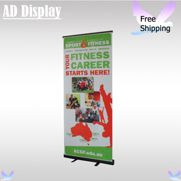 US $405 0 |Wholesale 6PC 85*200cm Black Color Standard Pull Up Display  Banner Stand With Vinyl Fabric Printing,Trade Show Roll Up Banners-in  Flags,