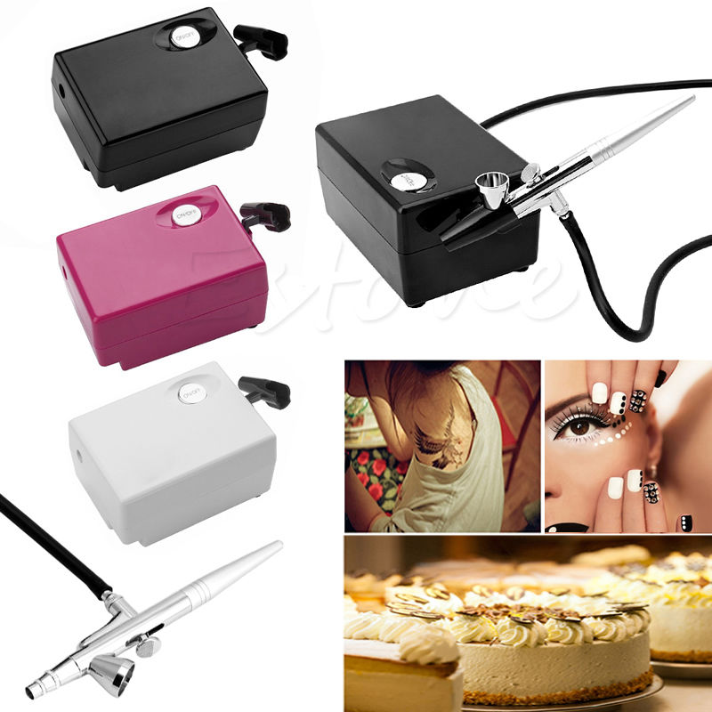 цены 0.4mm 2CC Craft Compressor Airbrush Mini Tattoo Cake Nail Art Paint Spray Gun High Quality Pro