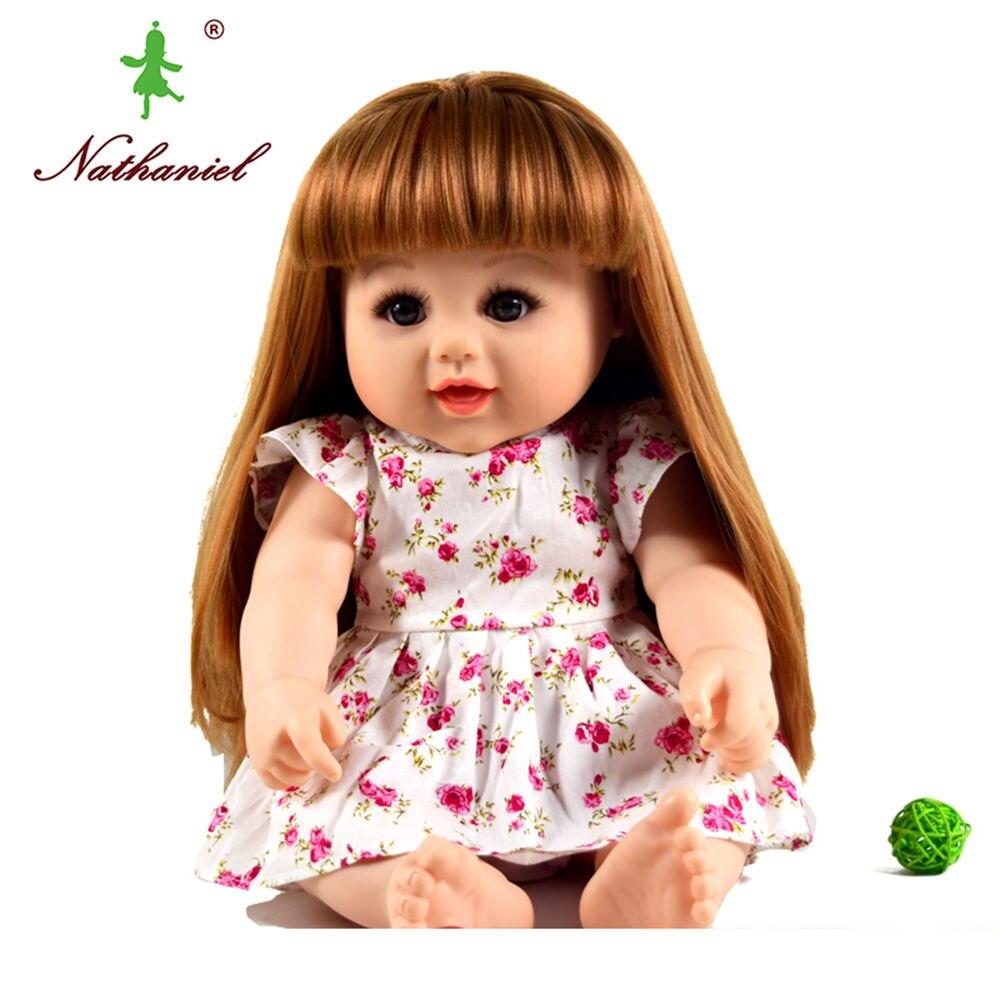 BIG! 48 cm echt reborn boneca Baby vinly Puppe Kinder lebensechte Spielzeug mädchen 18,9 zoll Kleid puppe Geschenke Weihnachten Geburtstag NATHNIEL