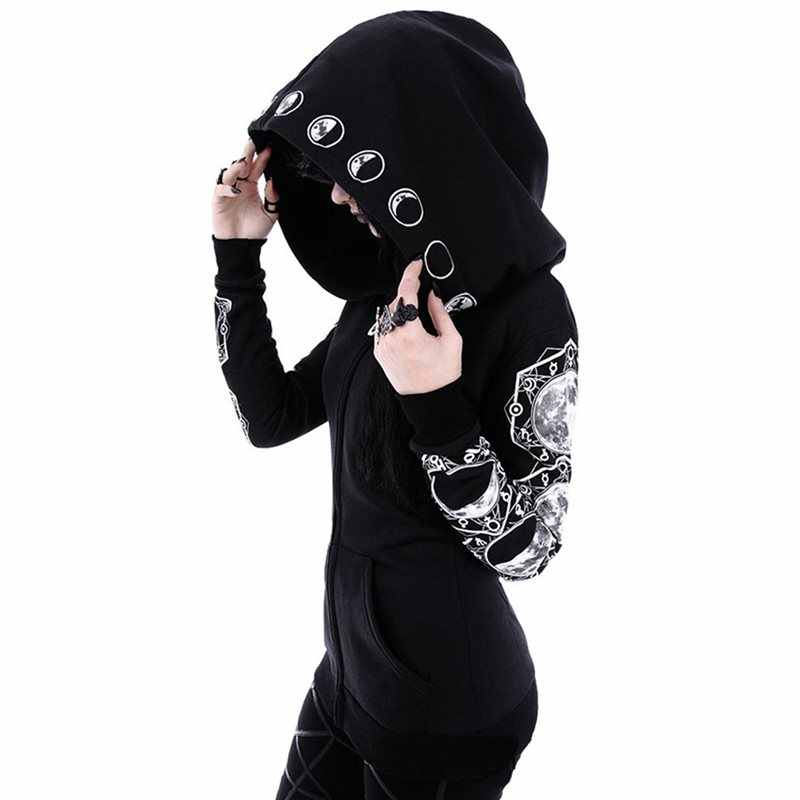 Rosetic Women Hooded Zipper Casual Black Hooded Pockets Letter Moon Print Gothic Punk Hoodies Female Dark Sweatshirt Goth