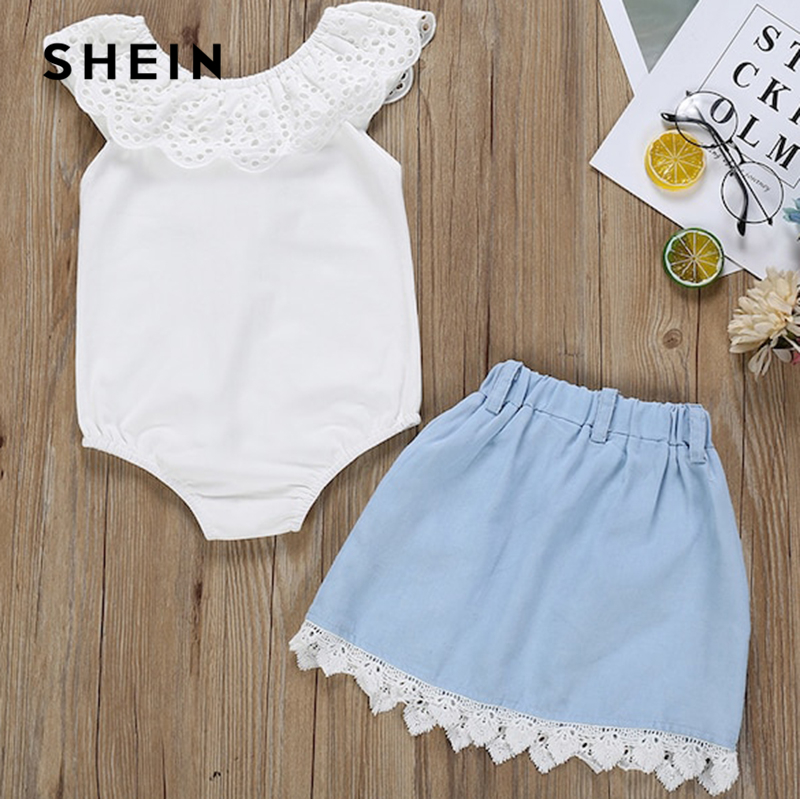 SHEIN Kiddie Contrast Lace Ruffle Cute Jumpsuit With Bow Front Skirt Suit Sets 2019 Summer Sleeveless Casual Pocket Suit Outfits 2017 new spring lace princess sleeve shirt skirt dress pleated skirt suit casual cake