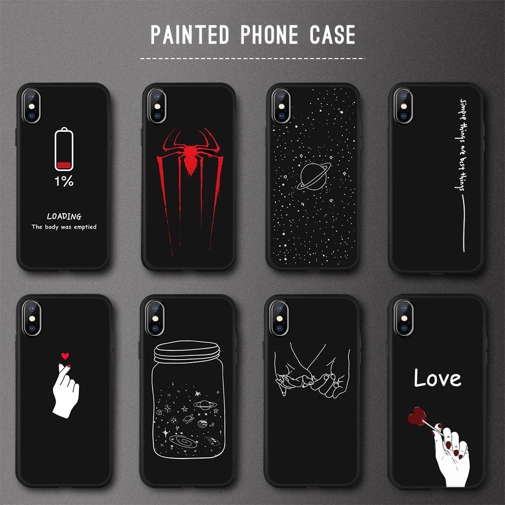 Animal Amour Coeur Doux TPU Silicone Cas pour iPhone 5 s SE X Téléphone Cas Pour iPhone 6 s 6 7 8 Plus XS Max XR Coque Givré Fundas