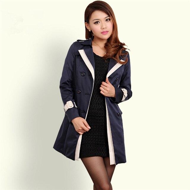 Пальто для женщин 2016 мода с отложным воротником двубортный контрастного цвета с пальто Большой размер Casaco Feminino