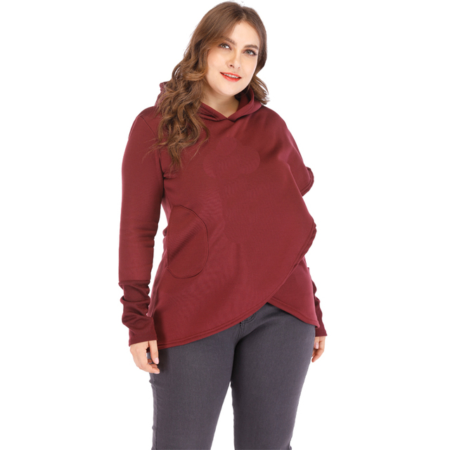 Plus Size Pocket Pullover Casual Warm Hooded Sweatshirt 1