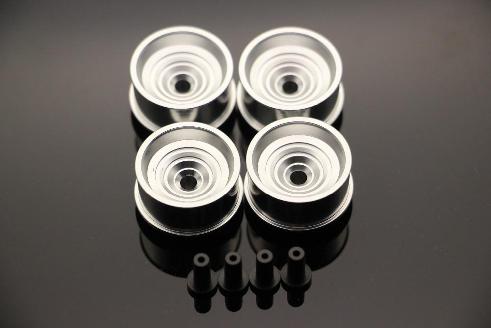 RFDTYGR Mini 4wd Wheels Diameter Besar Reka bentuk sendiri untuk Tamiya MINI 4WD Roda berwarna w / Disc Aluminium L006 1Set / lot