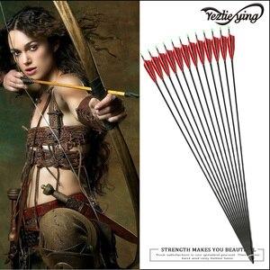 Image 5 - 6 個クロスボウ狩猟 30 インチSpine500 カーボン矢印赤トルコ真の羽反らすの弓の狩猟アーチェリー