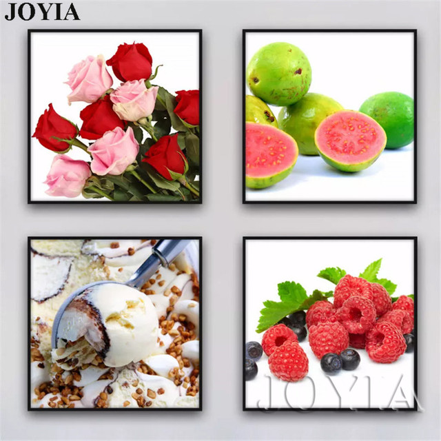4 Piece Canvas Fruit Paintings Food Wall Art Rose Pictures Minimalist Hotel Sitting And