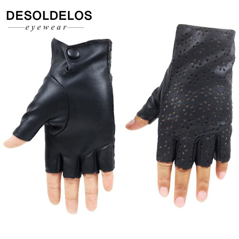 Fashion Women Fingerless Gloves Breathable Soft Leather Gloves for Dance Party Show Women Black Half Finger Mittens in Women 39 s Gloves from Apparel Accessories